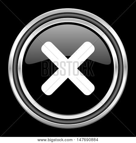 cancel silver chrome metallic round web icon on black background