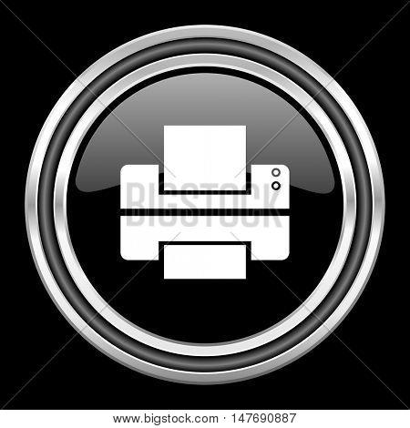 printer silver chrome metallic round web icon on black background