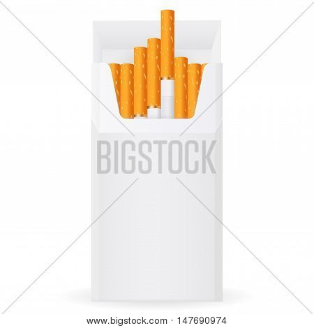 Pack of cigarettes. Open pack. Vector illustration isolated on white background