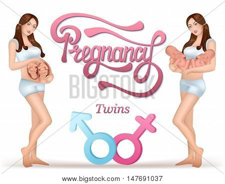 Pregnant woman and with newborn twins in her hands after birth. Vector illustration.