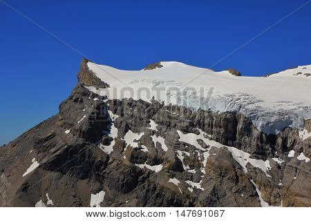 Glacier des Diablerets and Diablerets summit. Glacier in Vaud Canton Swiss Alps.