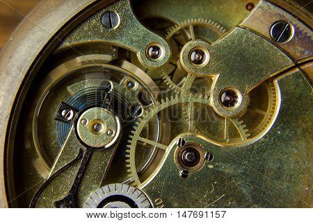 Macro shot of a clockwork with gears