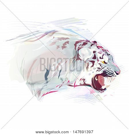 White tiger on a white background. Watercolor vector illustration