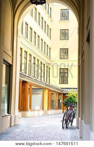Two bike in the doorway