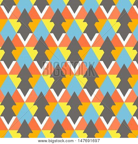 Vector modern colorful geometry pattern. Abstract background decoration. Pillow multicolor bright print. Hipster design. Modern red yellow fashion texture