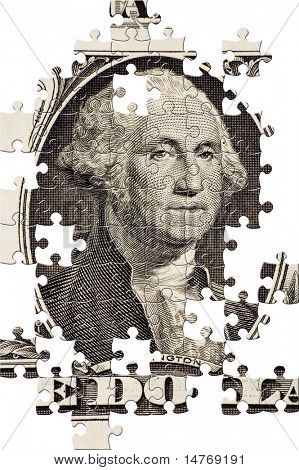 Puzzle Washington on a $1 bill
