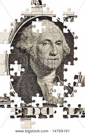 Puzzle Washington on a $1 bill