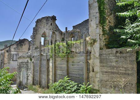 Historic derelict buildings in the southern city of Trebinje in Republika Srpska Bosnia and Herzegovina.