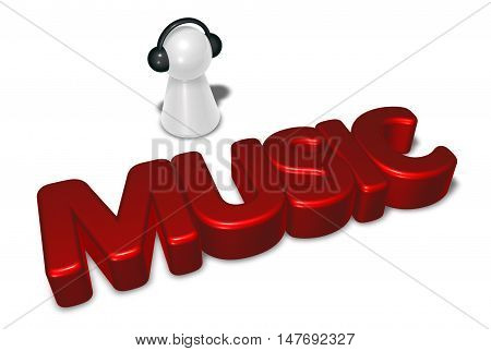music tag and pawn with headphones - 3d rendering