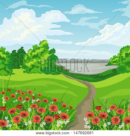 Summer landscape with green meadow, trees, lake and blue cloudy sky.
