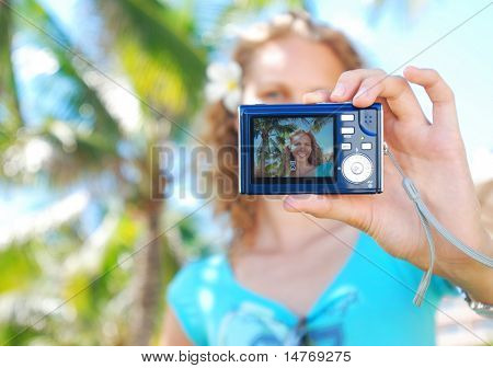 Shooting self portrait at tropical resort
