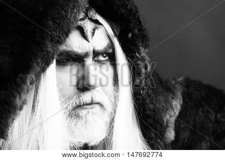 Mythology ancient Greece. Zeus god or jupiter with vine crown black and white