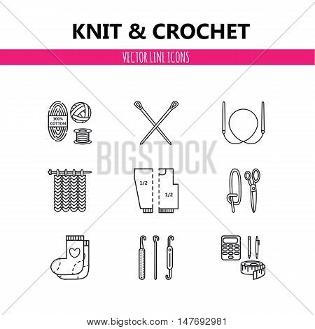 Modern vector line icons set of knitting and crochet elements - yarn knitting needle knitting hook pin and others. Outline symbol collection.