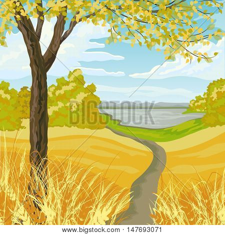 Autumn landscape with yellow meadow, trees, lake and blue cloudy sky.