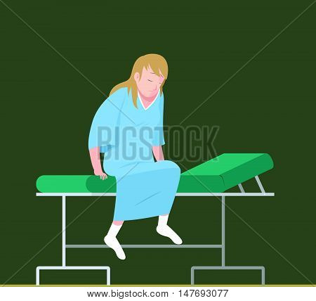 Illustration of patient in an examination bed