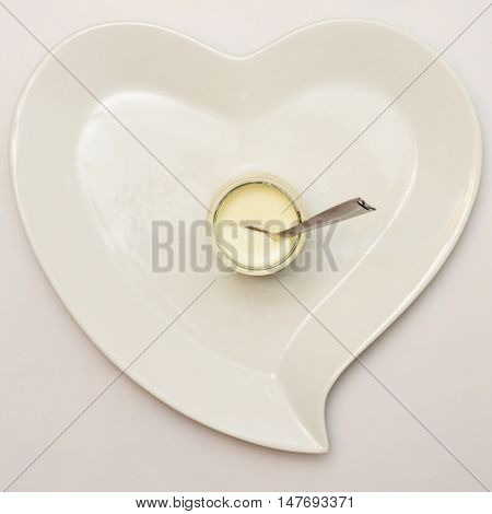 Heart Shaped Plate And Plain Yogurt