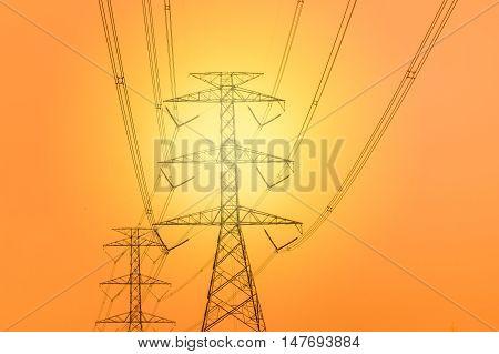 Huge high volt electric post at Sunset