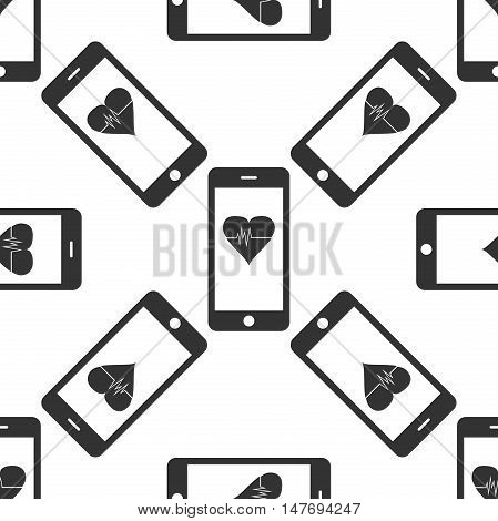 Smartphone with heart rate monitor function icon pattern on white background. Vector Illustration