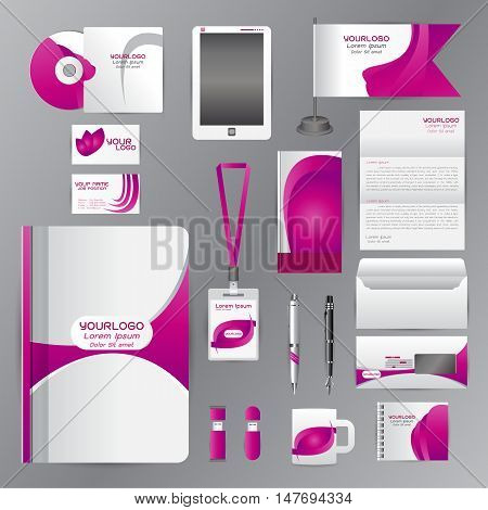 White corporate identity template with Purple origami elements. Vector company style for brandbook guideline and Pens mugs CDs books business cards letterhead flag Card Portfolio employees Tablet flash drive