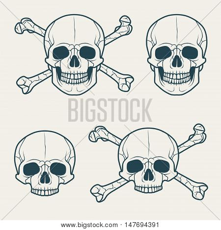 Vector set of grunge skulls. Black silhouette on a white background
