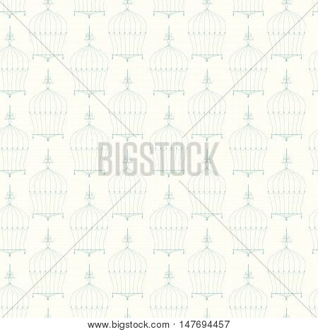 abstract seamless green birdcage pattern vector background