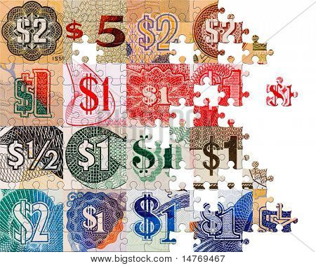 Puzzle Dollar symbols from all over the world (currency crops)