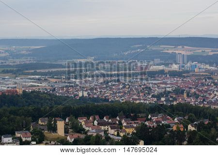 aerial view of Schwandorf in bavaria. In the front the