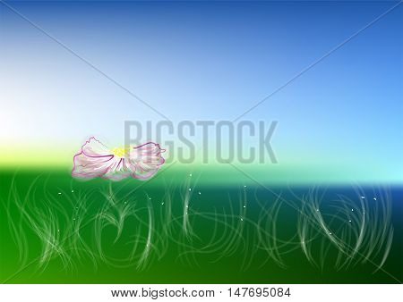 meadow. Idyllic landscape with fresh green meadows and blooming flower