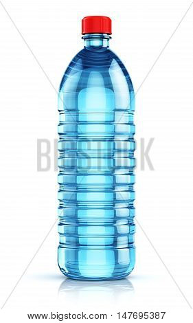 3D illustration of blue plastic bottle with clear purified drink carbonated water isolated on white background with reflection effect