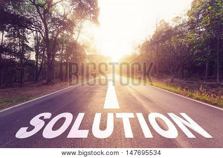 Empty asphalt road sunlight and Solution concept.