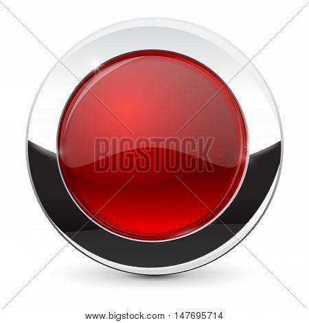Round button with chrome frame. Red icon. Vector illustration isolated on white background