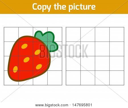 Copy the picture, education game for children, Strawberry