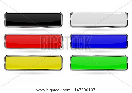 Shiny glass buttons. Set of colored square buttons with chrome frame. Vector illustration isolated