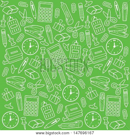 Vector seamless pattern with office supplies. Office stuff collection set background