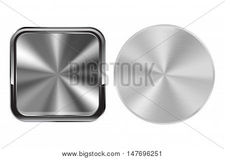 Metal buttons round and square. Brushed steel surface. Vector illustration