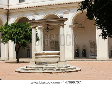 ROME, ITALY - JUNE 12, 2015: baths of Diocletian (Thermae Diocletiani) in Rome. Italy