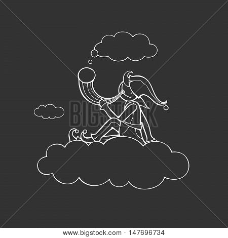 Shepherd sits on cloud and holds horn. Vector illustration of fictitious character. White outlines. Black background.