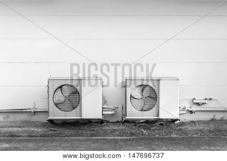 air condensing unit in black and white tone outside