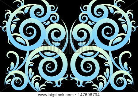 Blue gradient abstract swirl vector illustration background