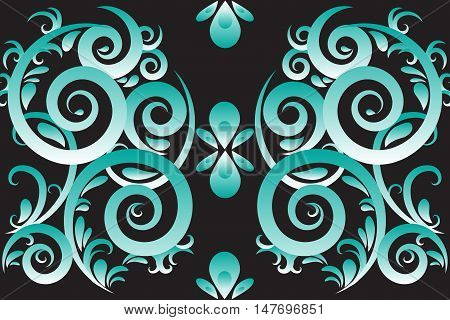 Green abstract swirl vector illustration ornament background
