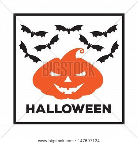 Vector Emblem Or Poster For A Holiday Halloween. Orange Pumpkin With  Scary Face And Bats In  Black