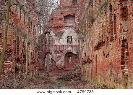 The ruins of the medieval Teutonic castle Balga in the Kaliningrad region. Russia.