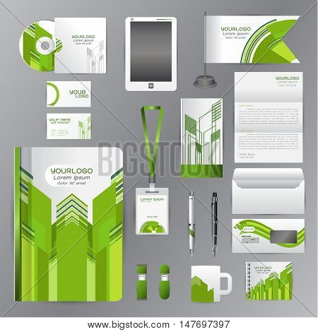 White corporate identity template with green origami elements. Vector company style for brandbook guideline and Pens mugs CDs books business cards letterhead flag Card Portfolio employees Tablet flash drive