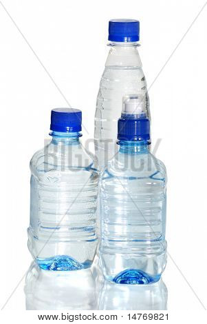 Bottle of water. Isolated on white, with reflection.