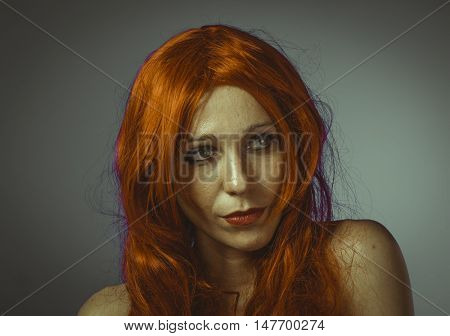 Hairstyle, attractive woman with huge red mane, blue chroma