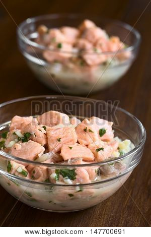 Chilean salmon ceviche prepared with onion garlic fresh coriander salt and lemon juice photographed with natural light (Selective Focus Focus in the middle of the first ceviche)
