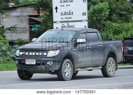 CHIANGMAI, THAILAND - AUGUST 18, 2016: Private Pickup car Ford Ranger. On road no.1001 8 km from Chiangmai city.