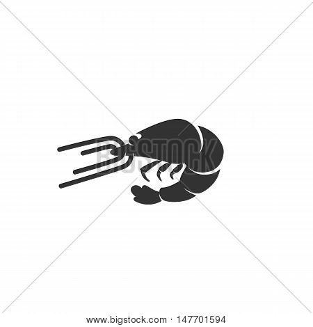 Shrimp Icon isolated on a white background. Shrimp Logo design vector template. Sea animals Logotype concept icon. Symbol, sign, pictogram, illustration - stock vector