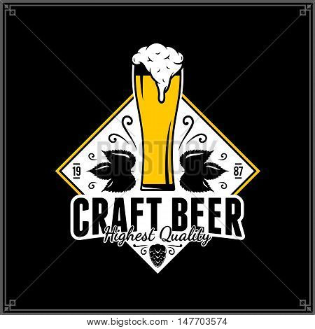 Vector White And Yellow Vintage Craft Beer Logo Template
