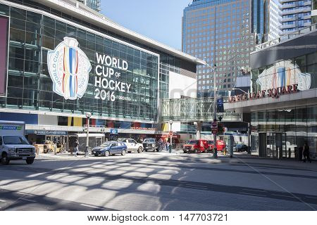 TORONTO - SEPTEMBER 15 2016: The Air Canada Centre in Toronto is hosting the World Cup of Hockey 2016 tournament.